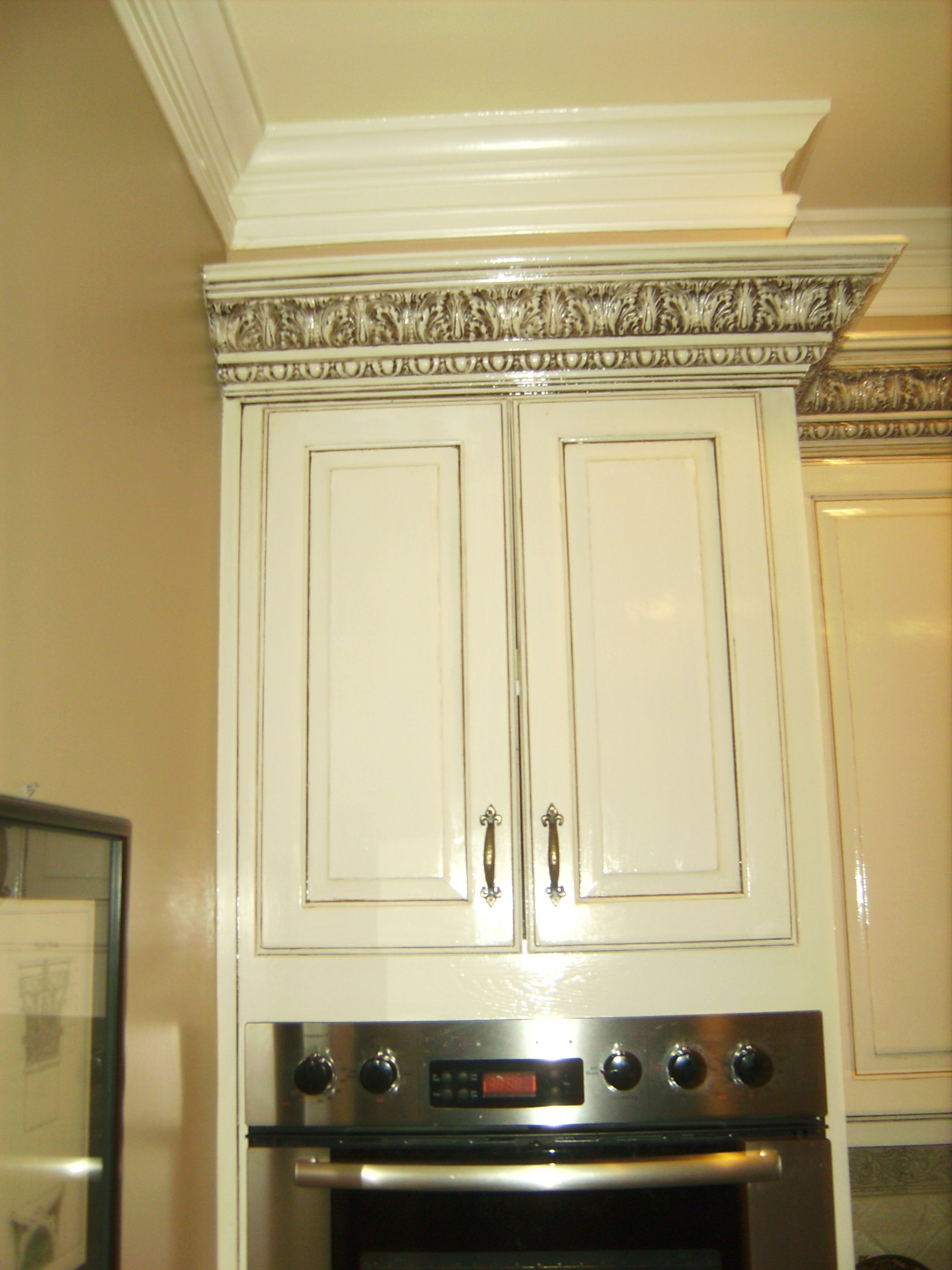 Atlanta Custom Cabinets, White With Black, Gray Pinstripe Glaze Finish.
