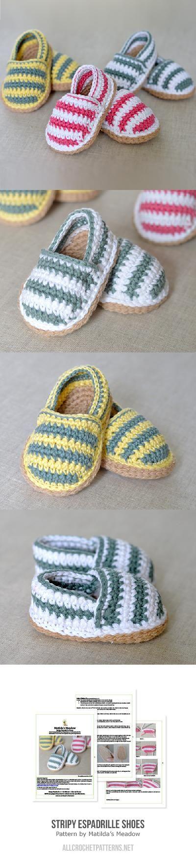 Stripy espadrille shoes crochet pattern by Matilda\'s Meadow | Tejido ...