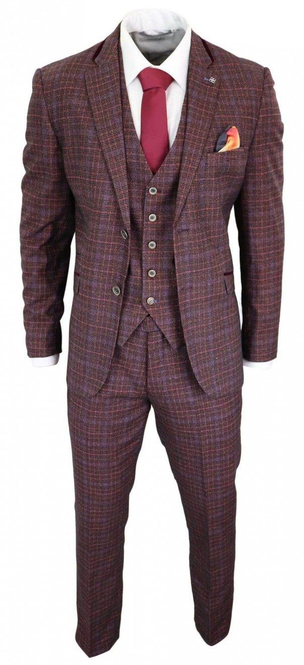 Cavani Carly Men's 3 Piece Tweed Check Burgundy Suit in