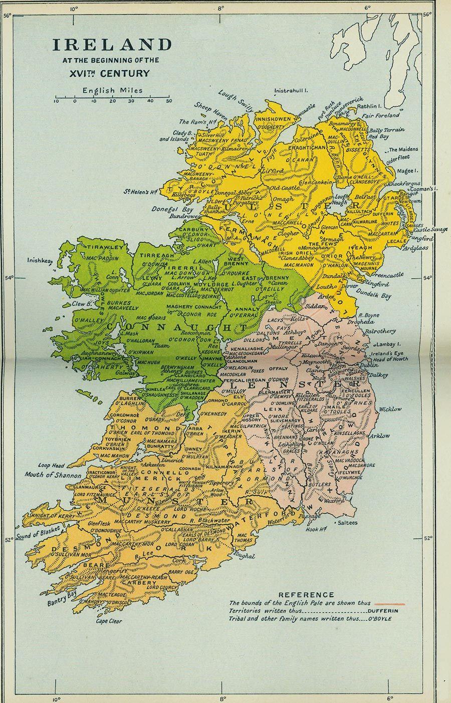 Oldest Map Of Ireland.Map Showing Origin Of Irish Surnames Genealogy Surnames Ireland