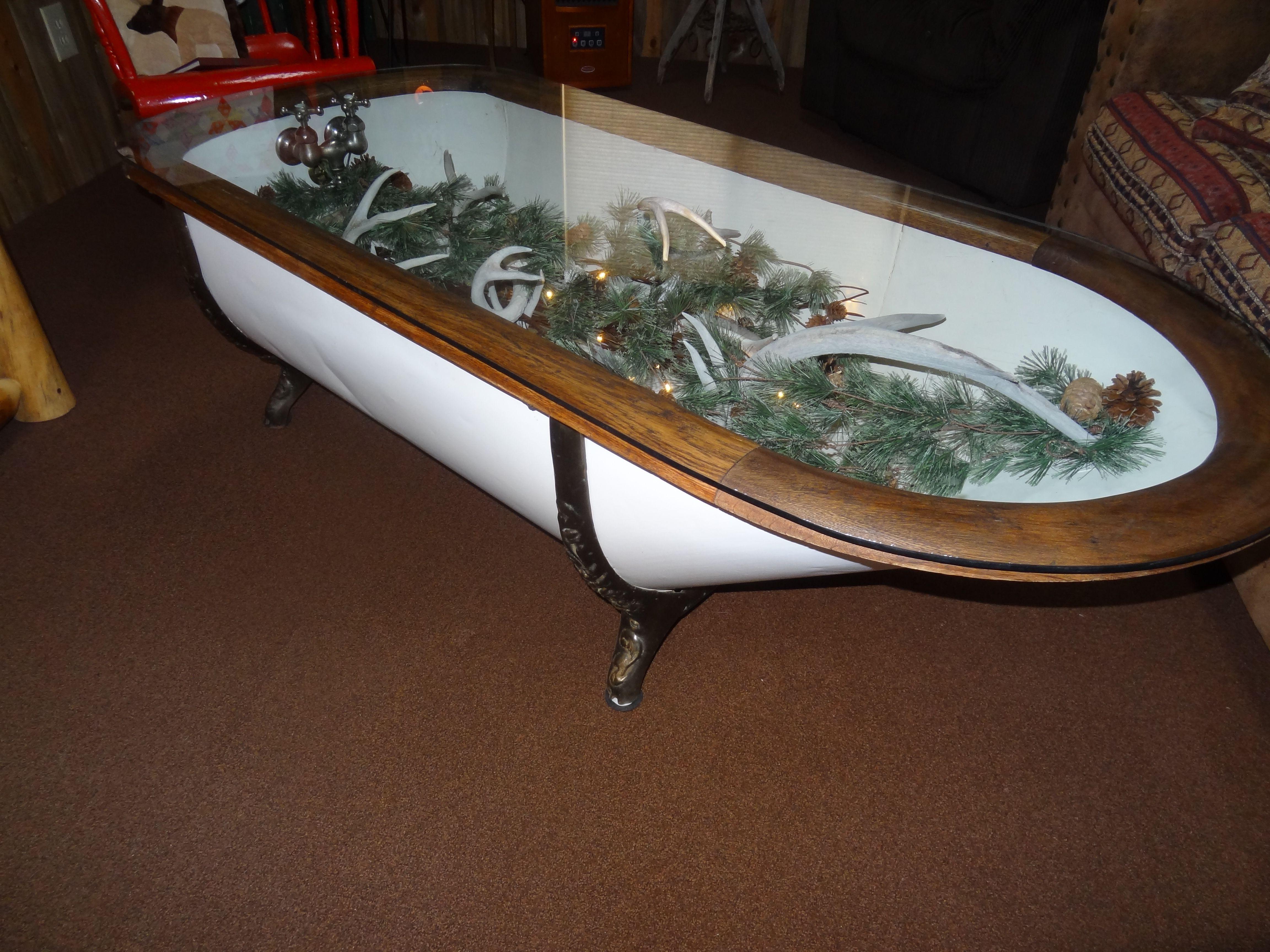 Early 1900 Bathtub Coffee table   old bath tubs and mine too ...