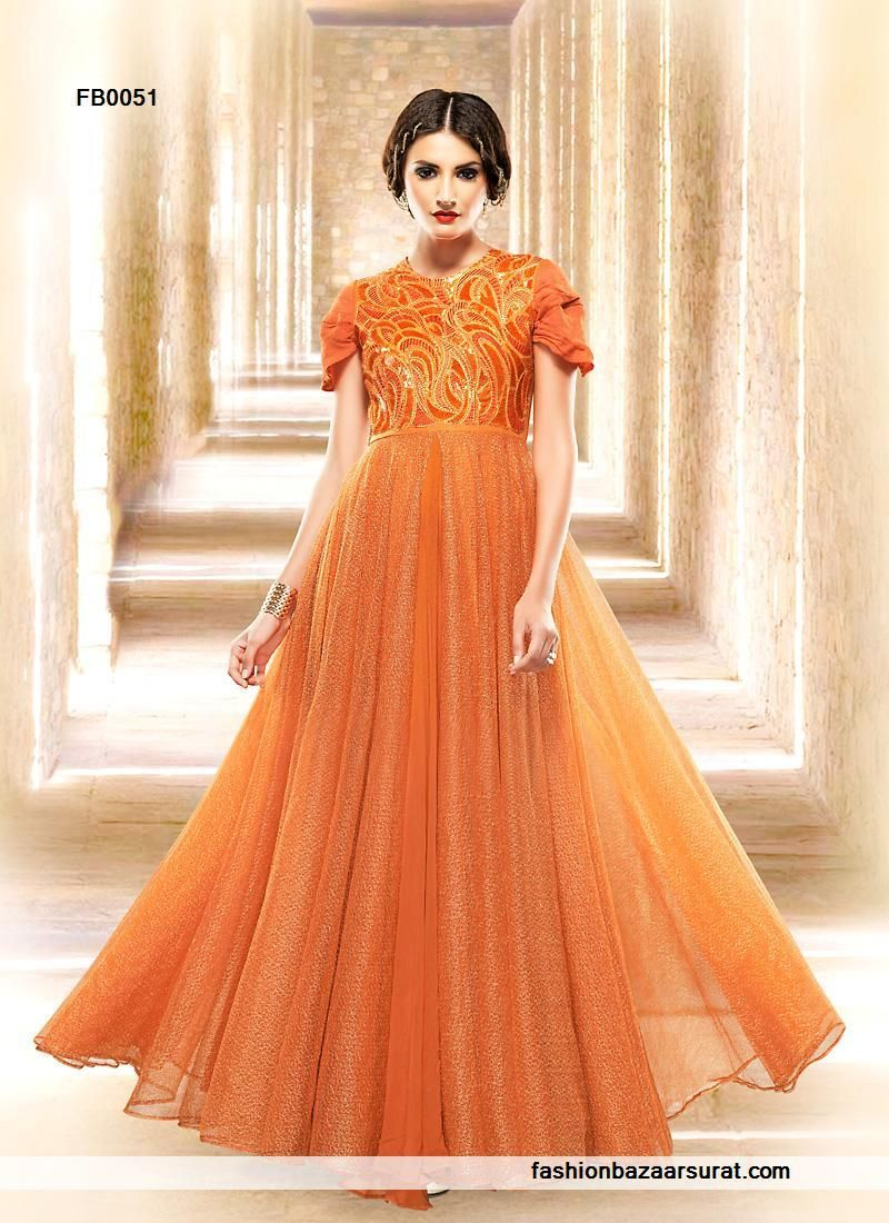 buy Orphic Orange Embroidery Evening Gown online, buy Gown online ...