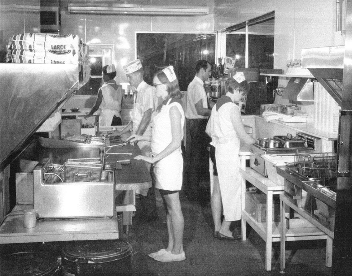 sonic carhops in a blast from the past crew inside a sonic restaurant