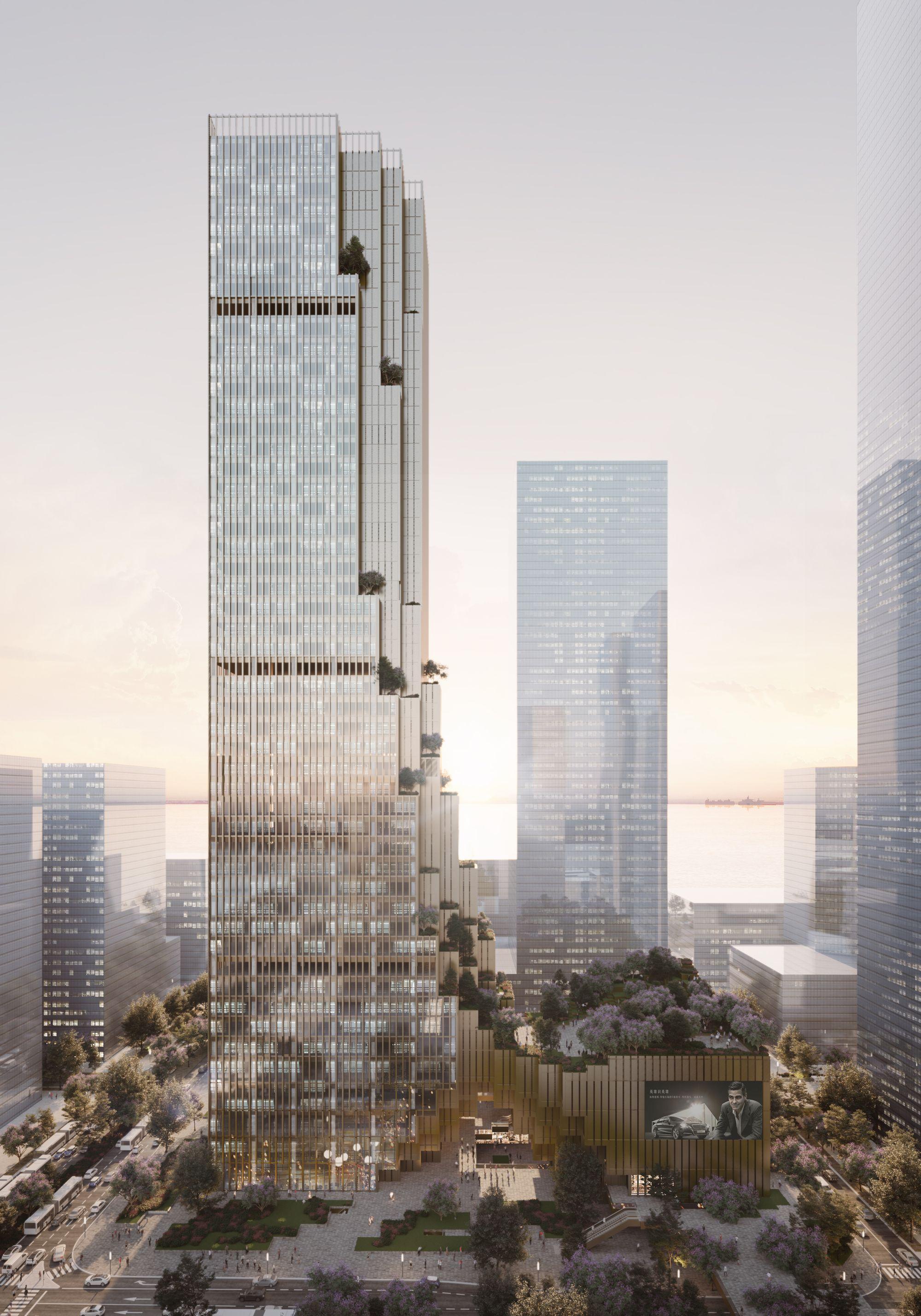Gallery Of Mecanoo Designs Bronze Skyscraper For World S Largest Weaving Enterprise In Shenzhen 6 Skyscraper Skyscraper Architecture Architecture