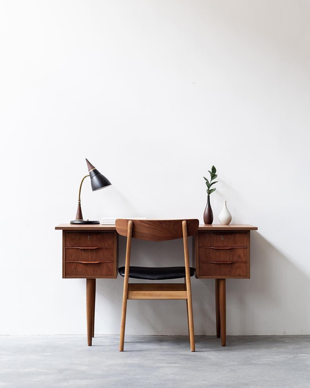 Interior Design Addict Noden On Instagram Vintage Freestanding Danish Desk In Teak Fully Restored Happy In Her Ne Interior Home Decor Desk In Living Room