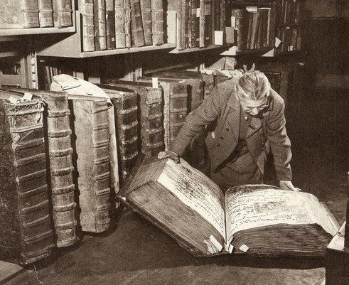 Giant fourteenth century tomes, held in the archives of Prague Castle.