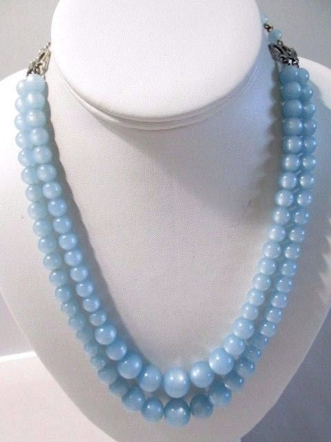 DOUBLE STRAND MOONGLOW THERMOSET NECKLACE BLUE BEADED VINTAGE 1960'S ADJUSTABLE