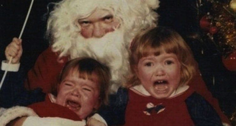 Santaphobia Is Apparently The Term For A Persistent Fear Of Santa Claus Usually Caused By Coming Int Creepy Vintage Bad Santa Santa Claus Is Coming To Town