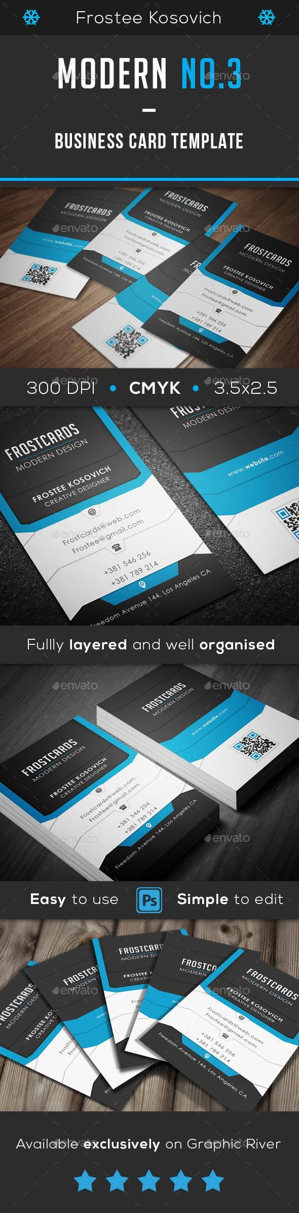 Modern Business Card Template No. 3  #template #creative #business