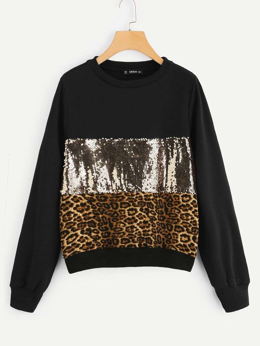 Contrast Sequin Color Block Leopard Pullover SheIn
