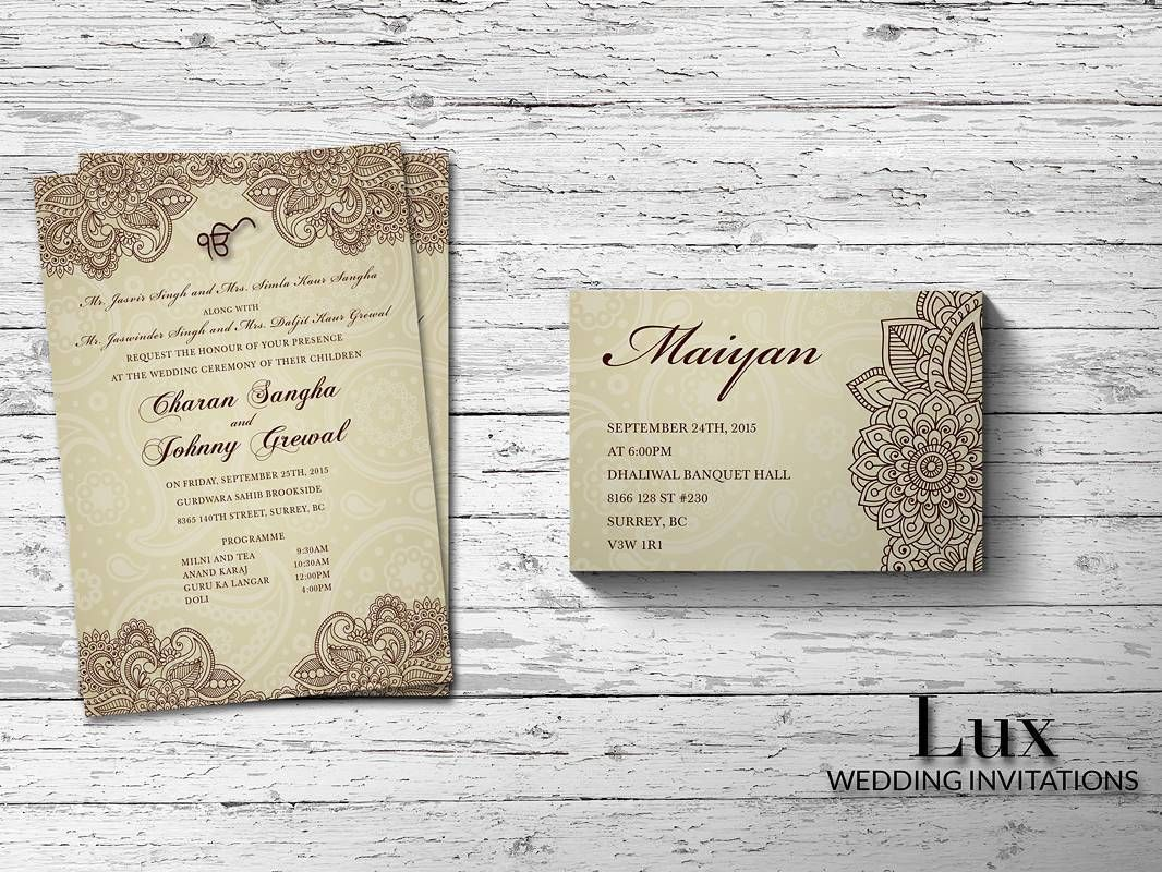 Fabulous Vancouver Wedding Mehndi Henna Inspired Wedding Invitation