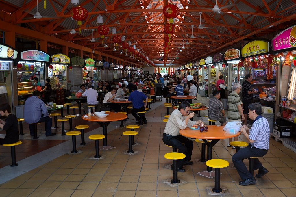 people eating at a Hawker Centre