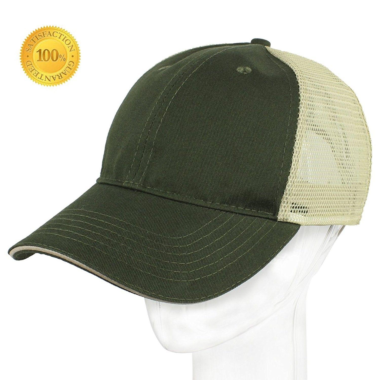 Profile Baseball Unisex Adjustable - Green + Light Yellow Grid -  C3184KDQMQK-Hats   Caps ae7dd181de14