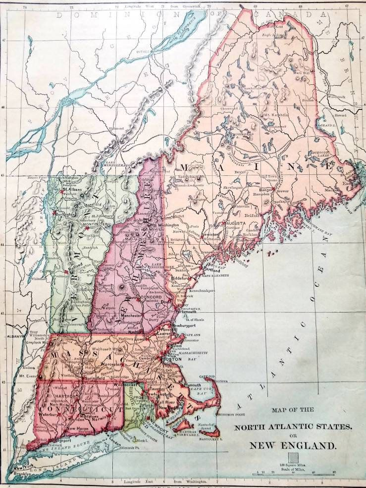 Antique 1890 Map Of New England Map Wall Art Office Decor - Map-of-the-us-in-1890