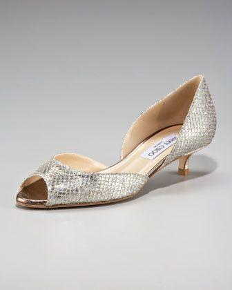 Jimmy Choo Lyon Glittered Kitten Heel Dorsay Wedding Shoes Low Heel Jimmy Choo Heels Low Heel Shoes