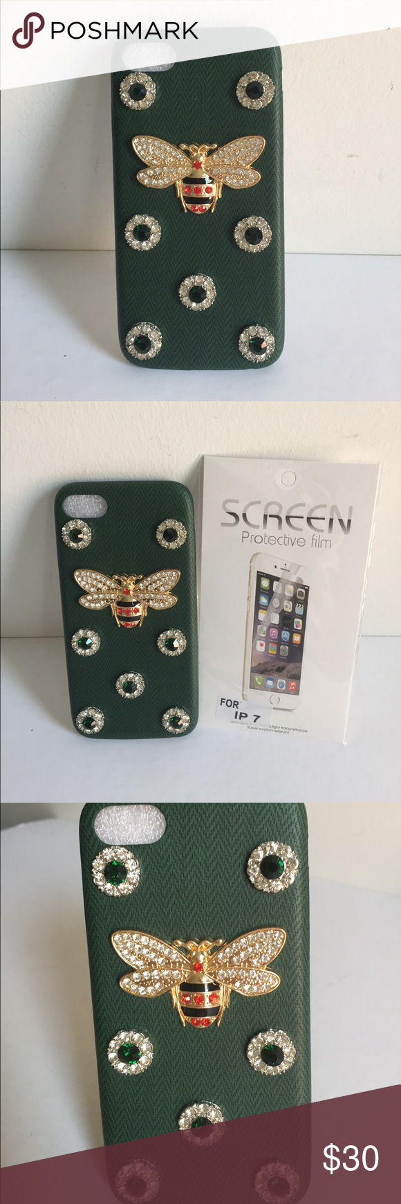 separation shoes 42821 9fec7 Gucci Crystal Bee iPhone 7 case Soft Green New Gucci style IPhone 7 ...