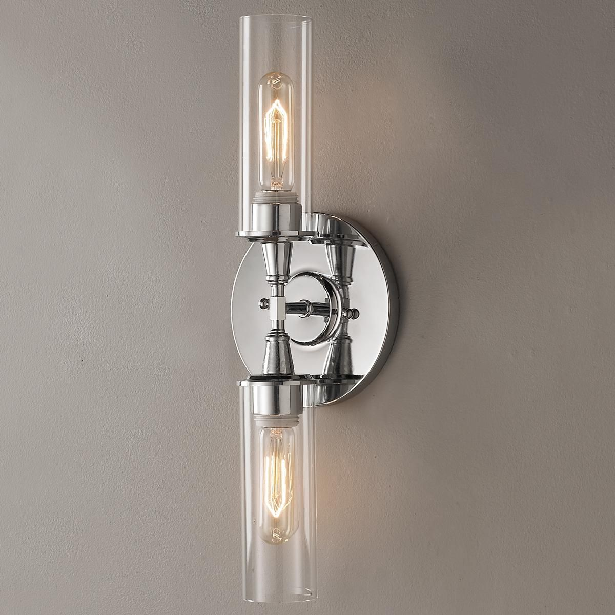 Horizontal Bathroom Sconces double bullet glass wall sconce | wall sconces, bullet and bath
