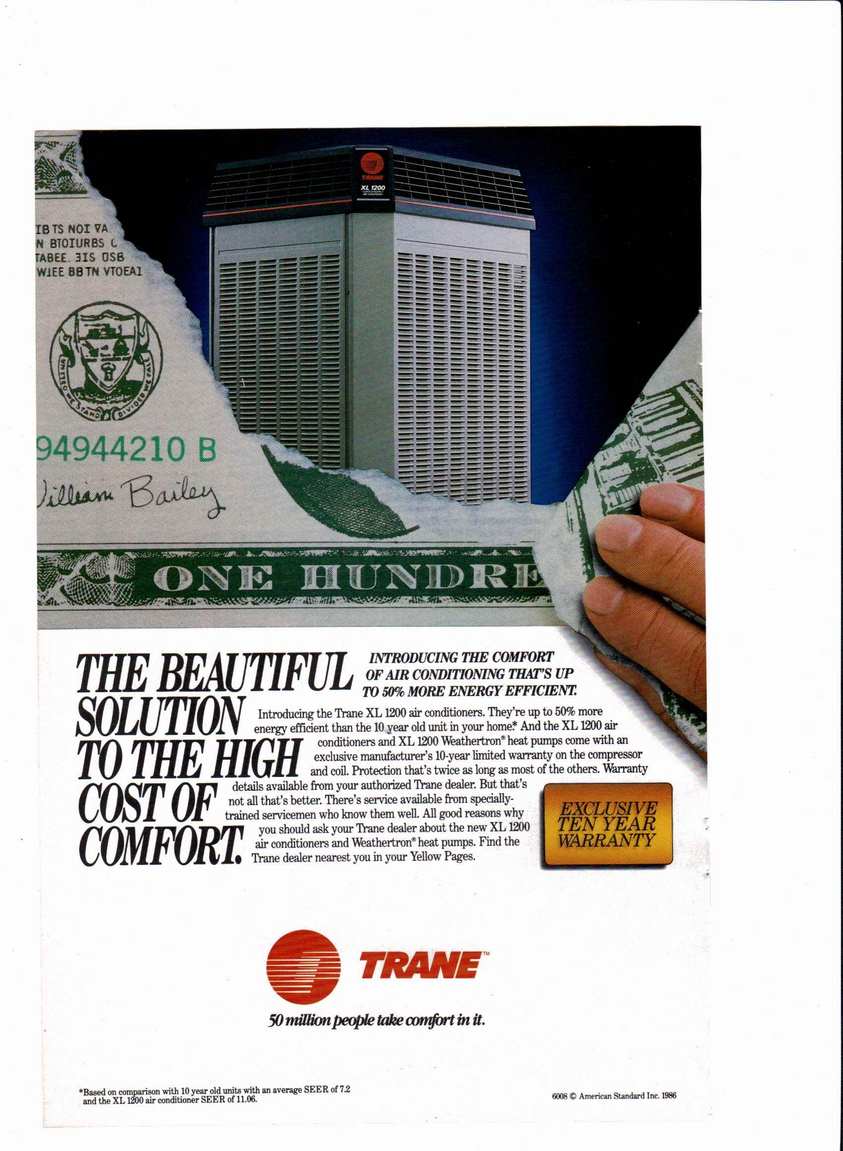 1986 Trane Air Conditioning Ad National Geographic July 1986
