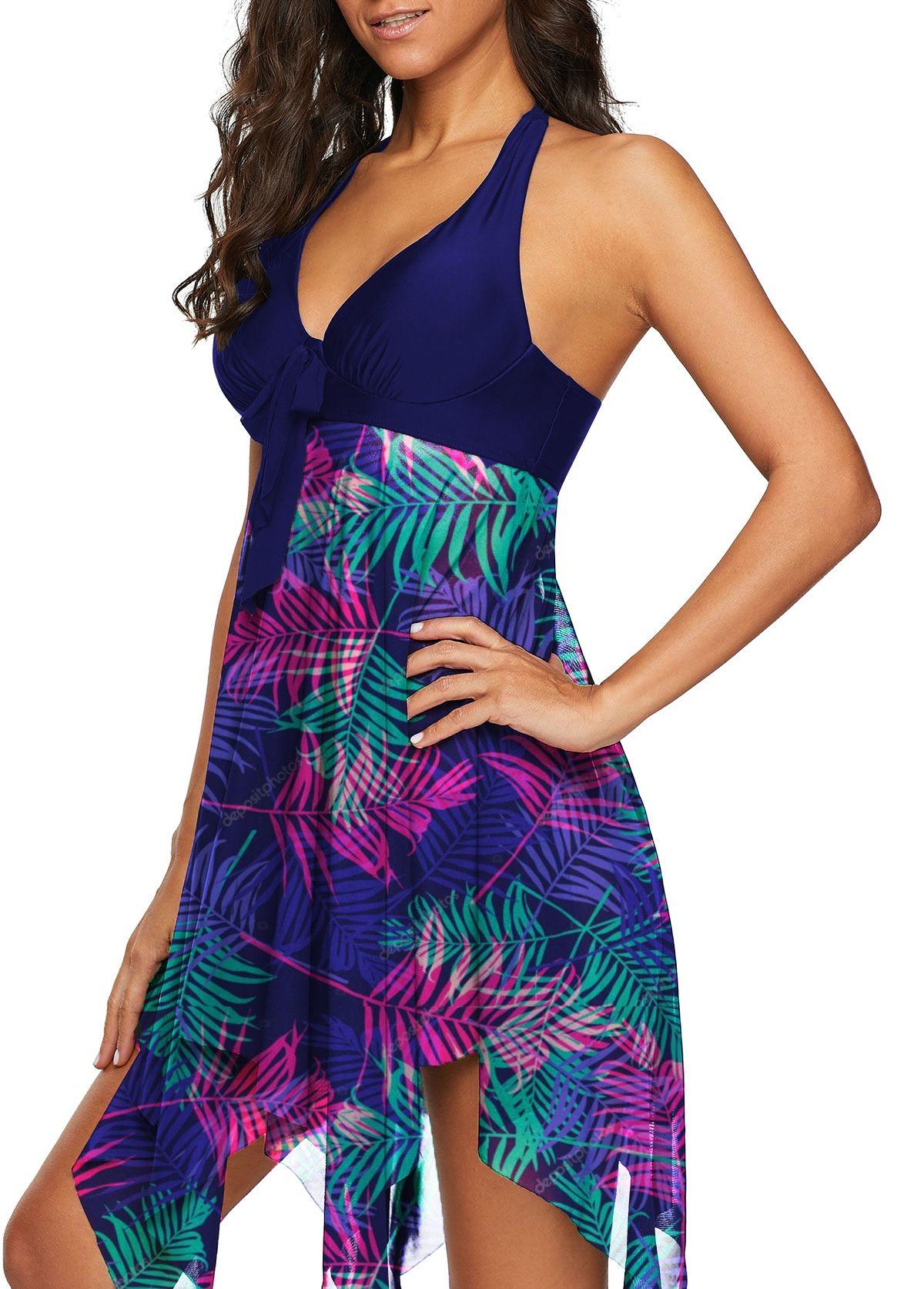 4dd95e0ccfd55 Halter Leaf Print Asymmetric Hem Swimdress and Shorts | beach Wear ...