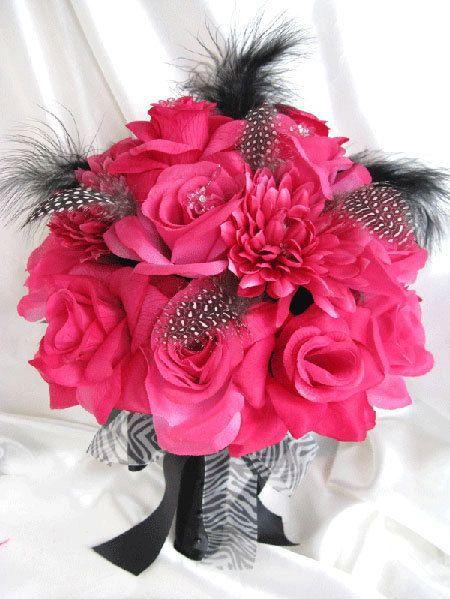 Hot Pink Wedding Boutineer Bouquet Bridal Silk Flowers Fuchsia Black Feathers