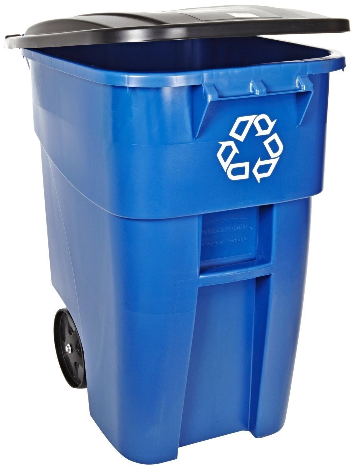 Has A Hinged Lid Integrated Handle Inset Wheels And Is Imprinted With The Recycling Symbol Molded In Rubbermaid Commercial Products Rubbermaid Recycle Trash