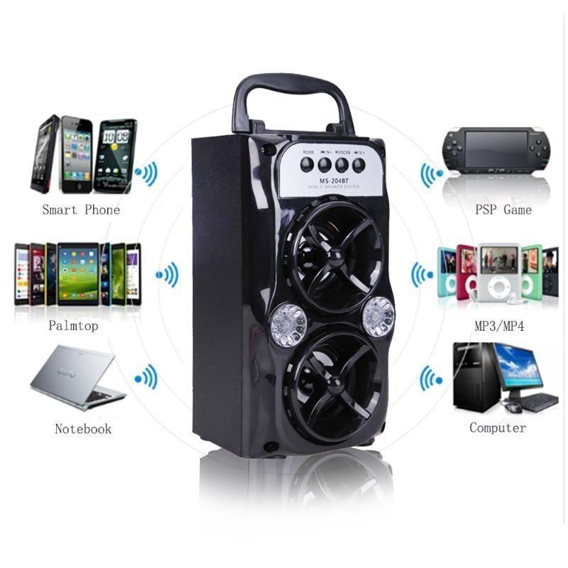 LED Multimedia Bluetooth Wireless Portable Speaker with USB//TF//AUX//FM Radio