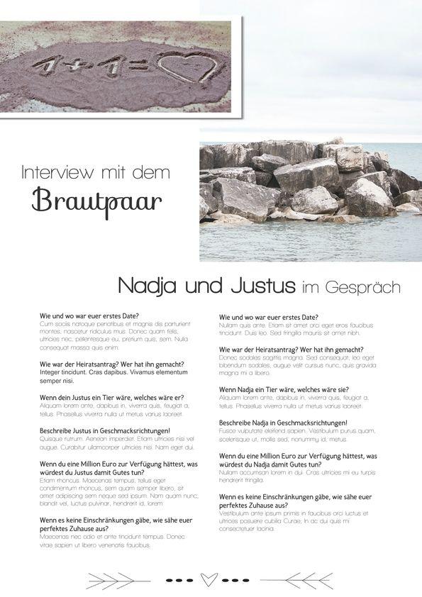 Für die Hochzeitszeitung: Interview mit dem Brautpaar - Jilster Blog ...