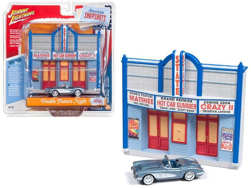 1958 Chevrolet Corvette Convertible Blue And Resin Movie Theater Facade Corvette Convertible Chevrolet Corvette Diecast Models