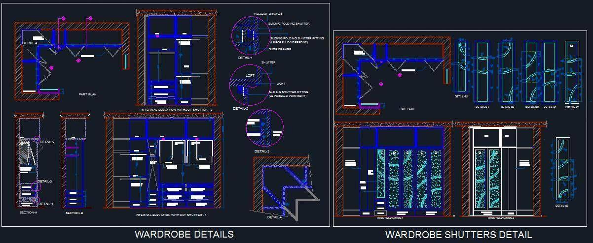 L Shape Wardrobe Walk In Closet Detail Shutter Designs