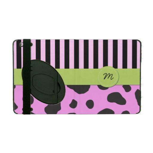 Names Initials Stripes Farm Cow Pink Black Green iPad Folio Cases