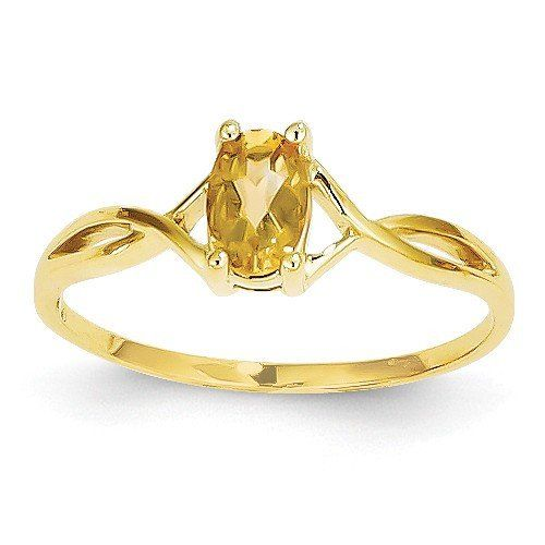 14k Yellow Gold Oval Genuine Citrine November Birthstone Ring