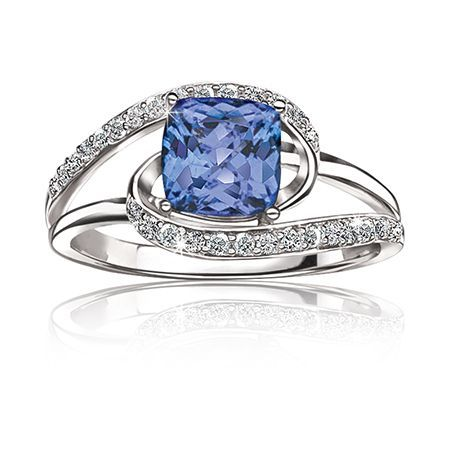 Tanzanite & Diamond Ring in 14k White Gold | New Arrivals ...