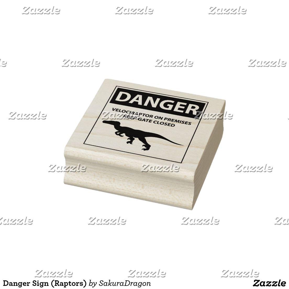 Danger Sign (Raptors) Rubber Stamp #dinosaurs #jurassic #velociraptor #raptors #sign