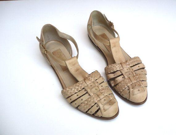 adcbfc1b4 Vintage Manelli Nude Beige Woven Leather Closed Toe T Strap Sandal Flats  Women 7M EUR 32 Brazil