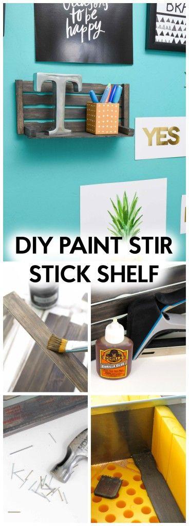 Diy Paint Stir Stick Shelf A Little Craft In Your Day Painted Sticks Diy Paint Sticks Projects Paint Stick Crafts