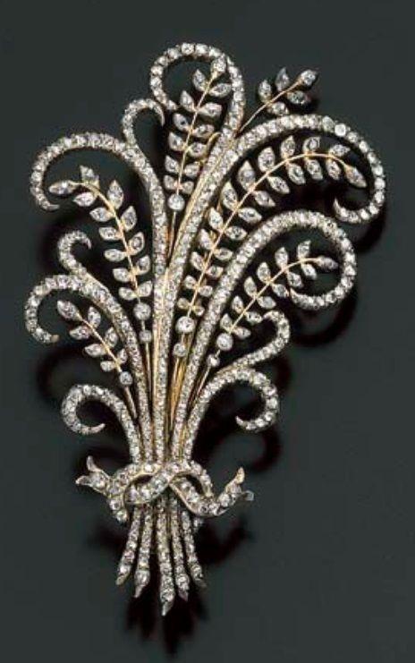 An Antique Diamond Brooch 19th Century Designed As A