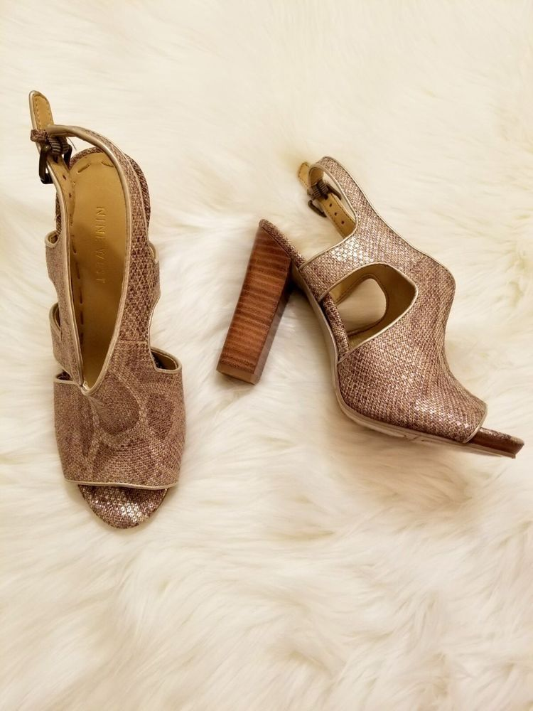 Nine West Open Toe Strappy Brown Gold Champagne Heels