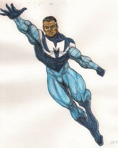 The Blue Marvel In the 1960s Adam Brashear was a young man who served his country as a U.S. Marine. When he discovered his super-powers, he fashioned a secret identity with which to protect his country; the Blue Marvel! He served as a hero for years, and was one of the most popular heroes of his time. Yet Adam had a secret, he was an African-American, a fact not lost on the government. As a precaution against so much power in the hands of a black man, they took steps to control him,