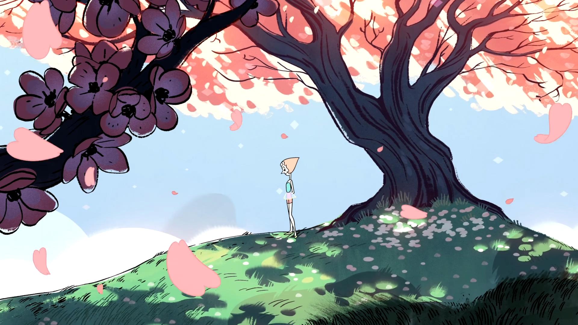 Wallpaper Pearl Cherry Blossom Steven Universe