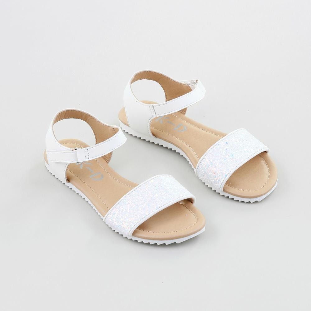K-D Girls Glitter Sandals - White | BIG
