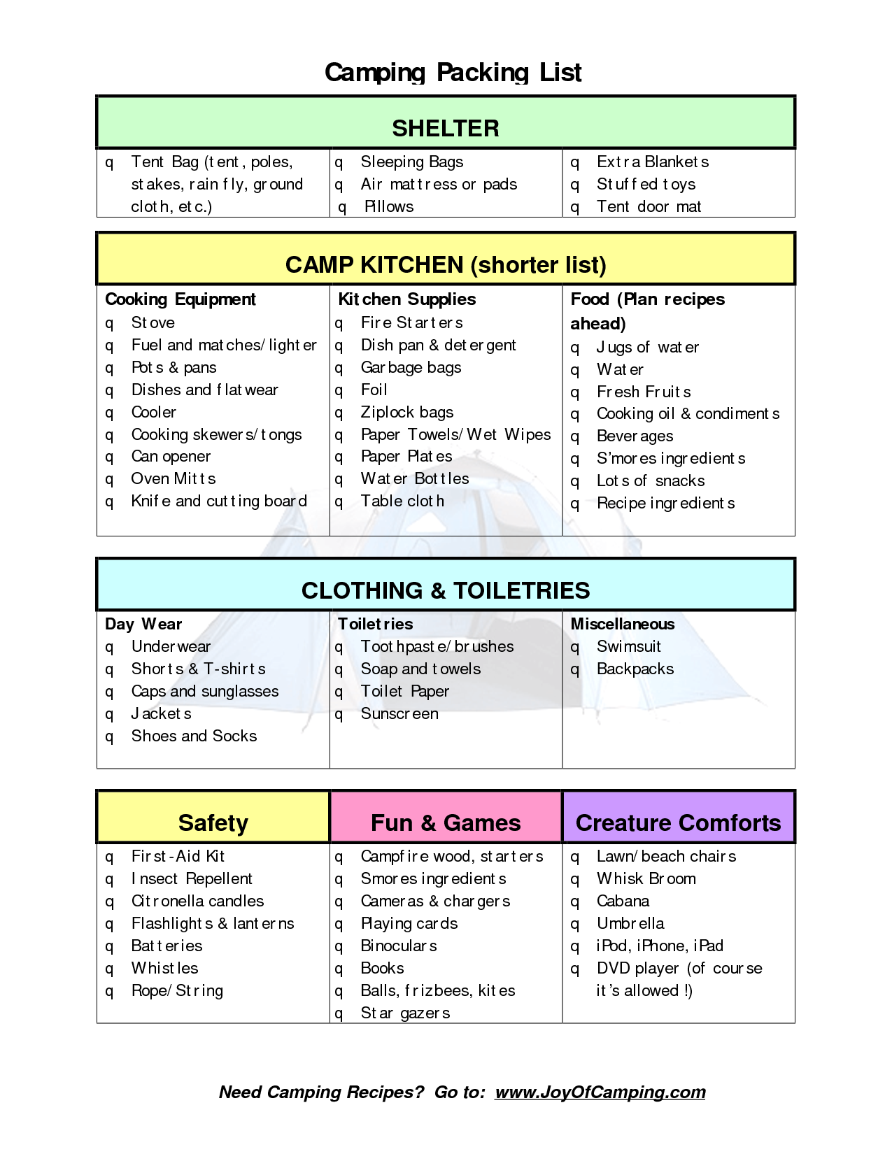 packing list for camping | Camping Packing List - PDF ...