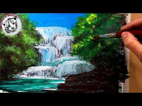 37 Como Pintar Con Acrilicos Paso A Paso 3 Como Pintar Una Cascada Con Acrilico Youtube Cuadros De Cascadas Como Pintar Paisajes Paisaje Para Pintar