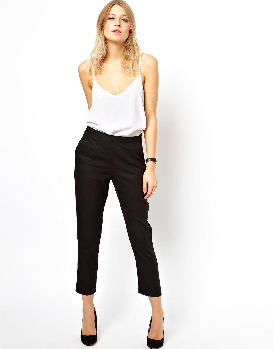 Asos Womens Crop Pants Black - Pants