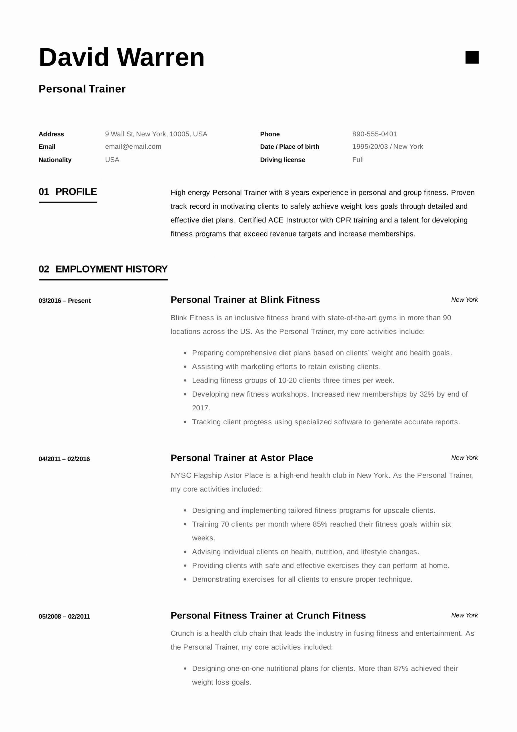 Personal Trainer Job Description Resume Best Of Personal
