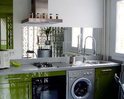 Frente muebles cocina en verde pistacho y trasera muebles en ...