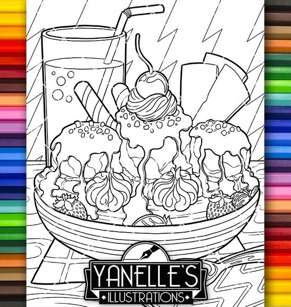 Adult Coloring Page Desserts Banana Split Ice Cream Snack Food Art