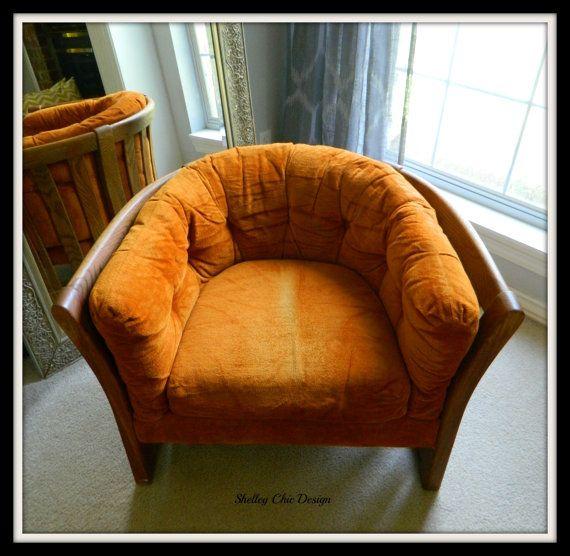 Flexsteel Sofa Vintage: Vintage Flexsteel Orange Tufted Chair20 Off By