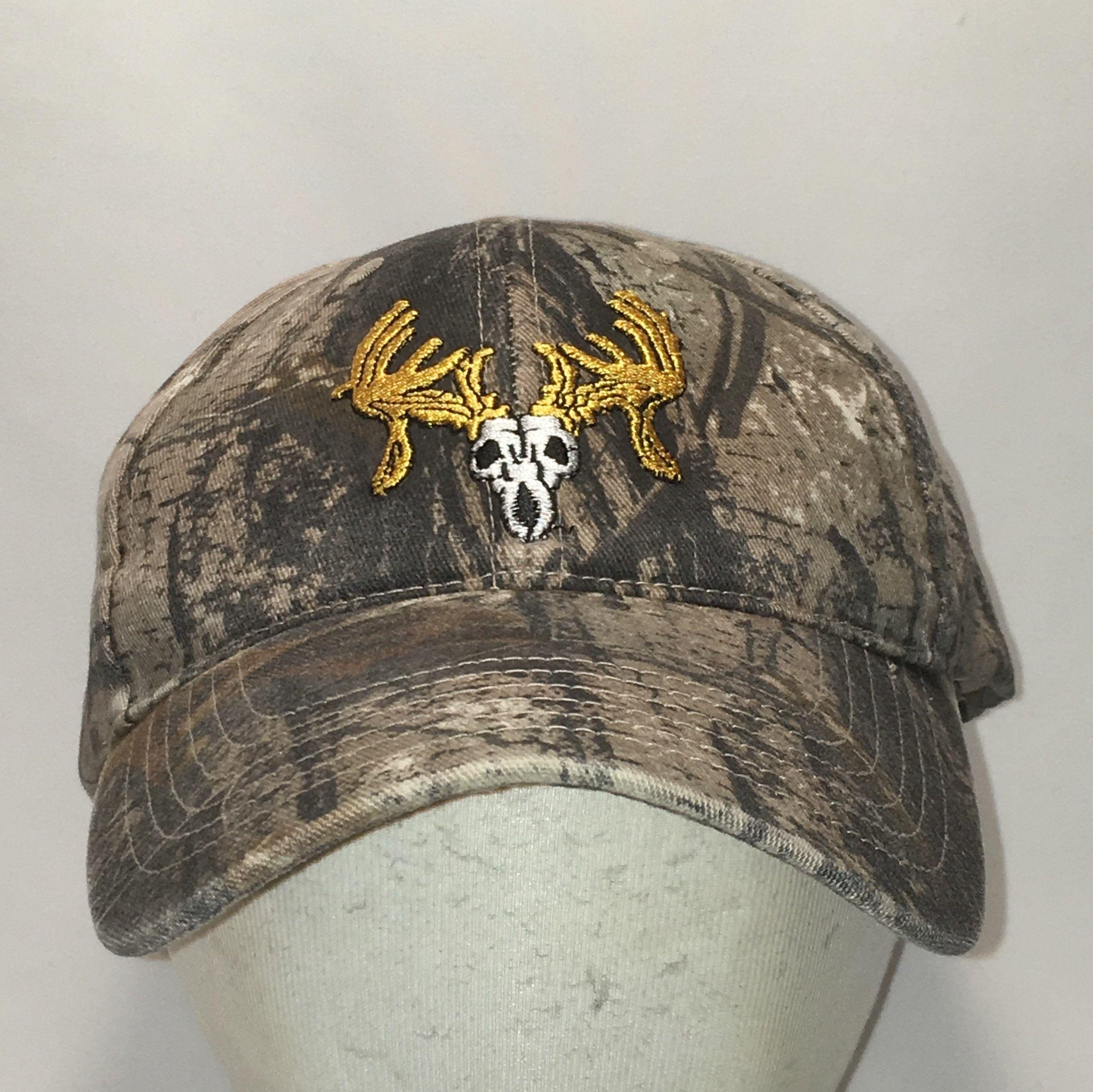 447df8a3 Vintage Texas Trophy Hunters Camo Hat Brown Beige Gold Baseball Cap ...