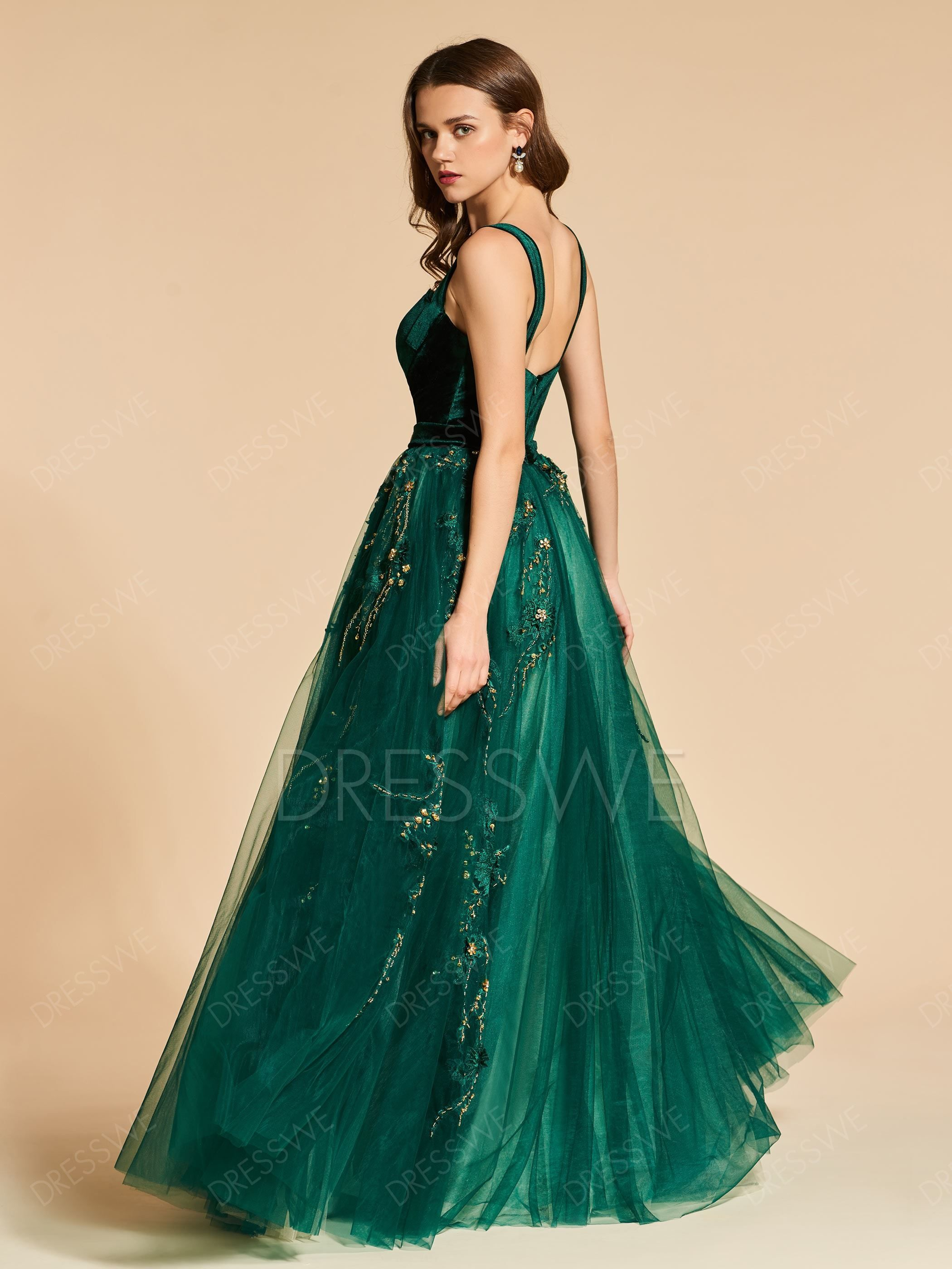 $185.99 Dresswe.com SUPPLIES Vintage A Line Straps Beaded Pleats Velvet Evening Dress