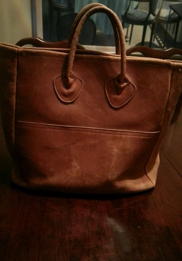 Vintage L Bean Cognac Brown Distressed Worn In Leather Tote Handbag Purse
